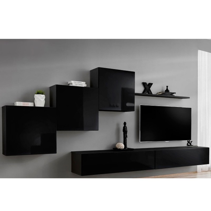 Meuble tv mural design switch x 330cm noir for Meuble mural noir brillant