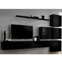 "Meuble TV Mural Design ""Switch IX"" 310cm Noir"