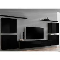 "Meuble TV Mural Design ""Switch IV"" 320cm Noir"
