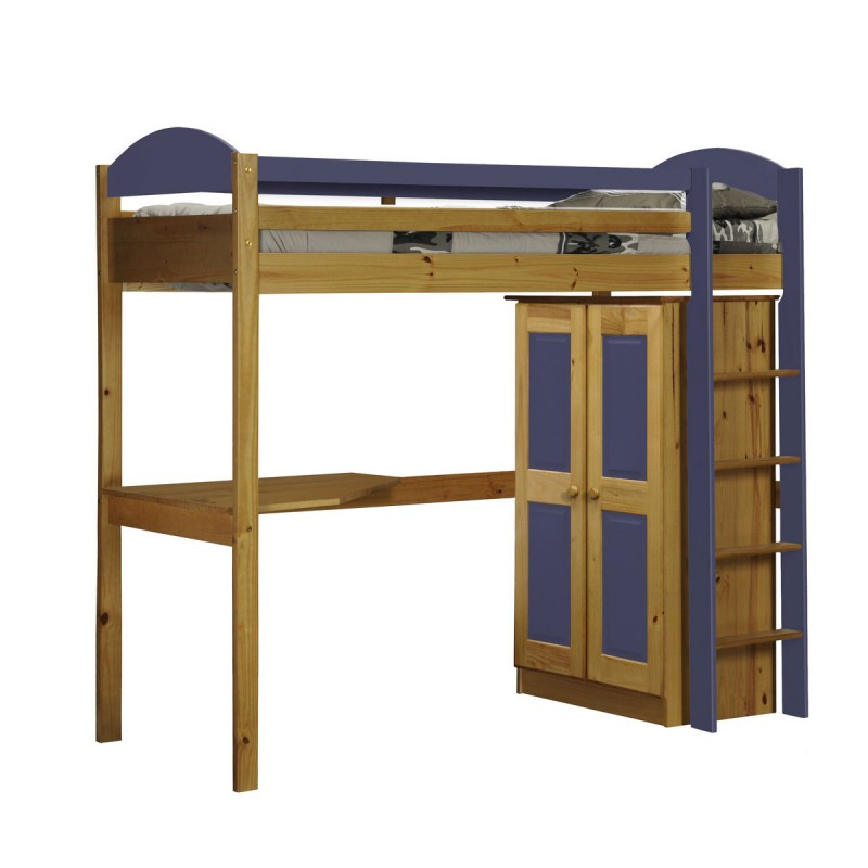 pack 1 lit mezzanine haut maximus 90x190cm naturel lilas. Black Bedroom Furniture Sets. Home Design Ideas