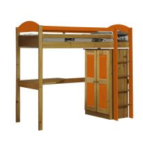 "Pack 1 - Lit Mezzanine Haut ""Maximus"" 90x190cm Naturel & Orange"