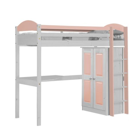 pack 1 lit mezzanine haut maximus 90x190cm blanc rose. Black Bedroom Furniture Sets. Home Design Ideas