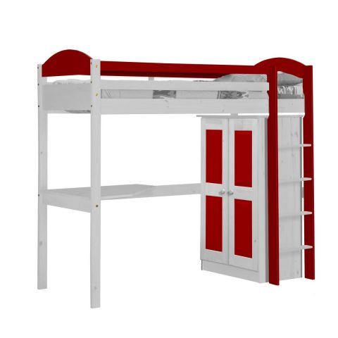 pack 1 lit mezzanine haut maximus 90x190cm blanc rouge. Black Bedroom Furniture Sets. Home Design Ideas