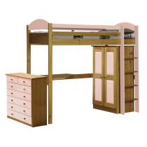 "Pack 2 - Lit Mezzanine Haut ""Maximus"" 90x190cm Naturel & Rose"
