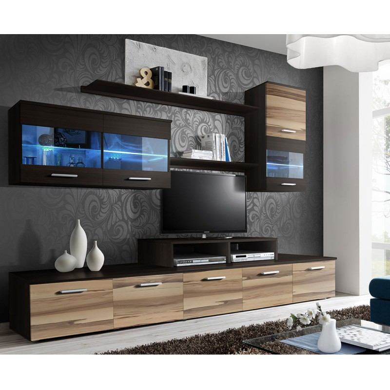 meuble tv mural design 39 logo 250cm noyer weng. Black Bedroom Furniture Sets. Home Design Ideas