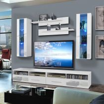"Meuble TV Mural ""Clevo II Twin"" 240cm Blanc"