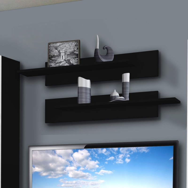 meuble tv mural clevo ii twin 240cm blanc noir. Black Bedroom Furniture Sets. Home Design Ideas
