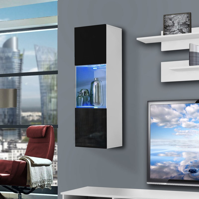 meuble tv mural clevo iii 240cm noir blanc. Black Bedroom Furniture Sets. Home Design Ideas