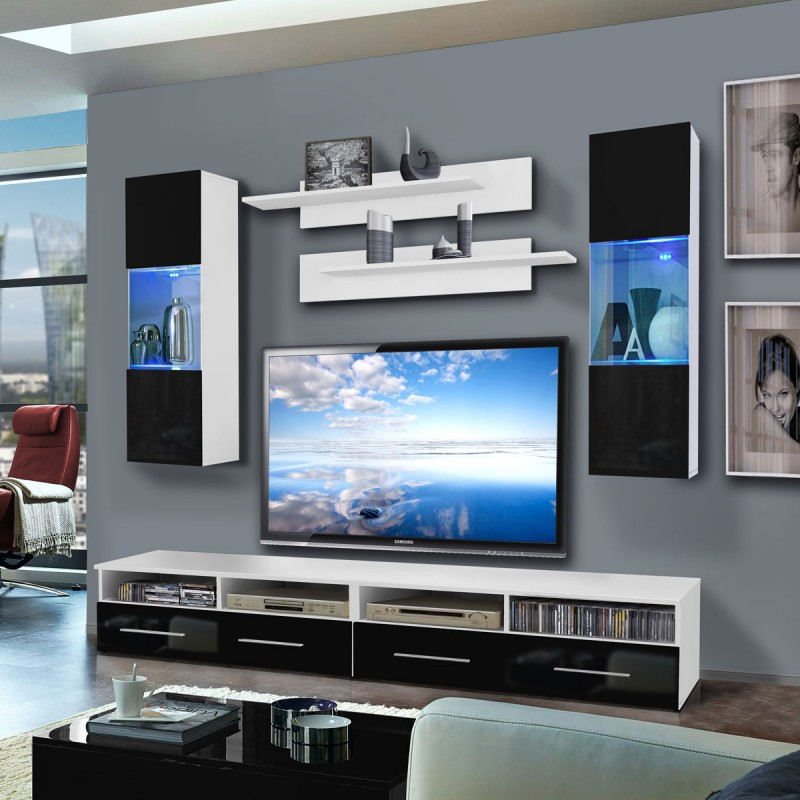 Meuble tv mural clevo iii twin 240cm noir blanc for Meuble tv mural 240 cm blanc gris adhara