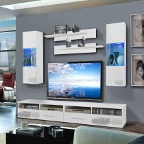 "Meuble TV Mural ""Clevo III Twin"" 240cm Blanc"
