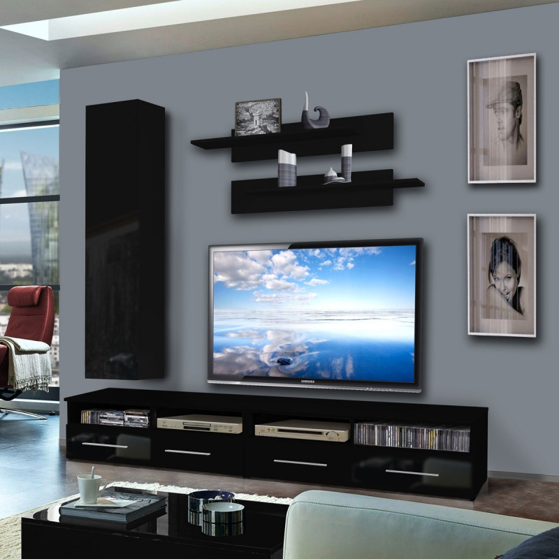 meuble tv mural clevo iv 240cm noir. Black Bedroom Furniture Sets. Home Design Ideas
