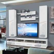 "Meuble TV Mural ""Clevo IV Twin"" 240cm Blanc"
