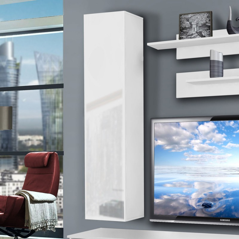 meuble tv mural clevo iv twin 240cm blanc. Black Bedroom Furniture Sets. Home Design Ideas