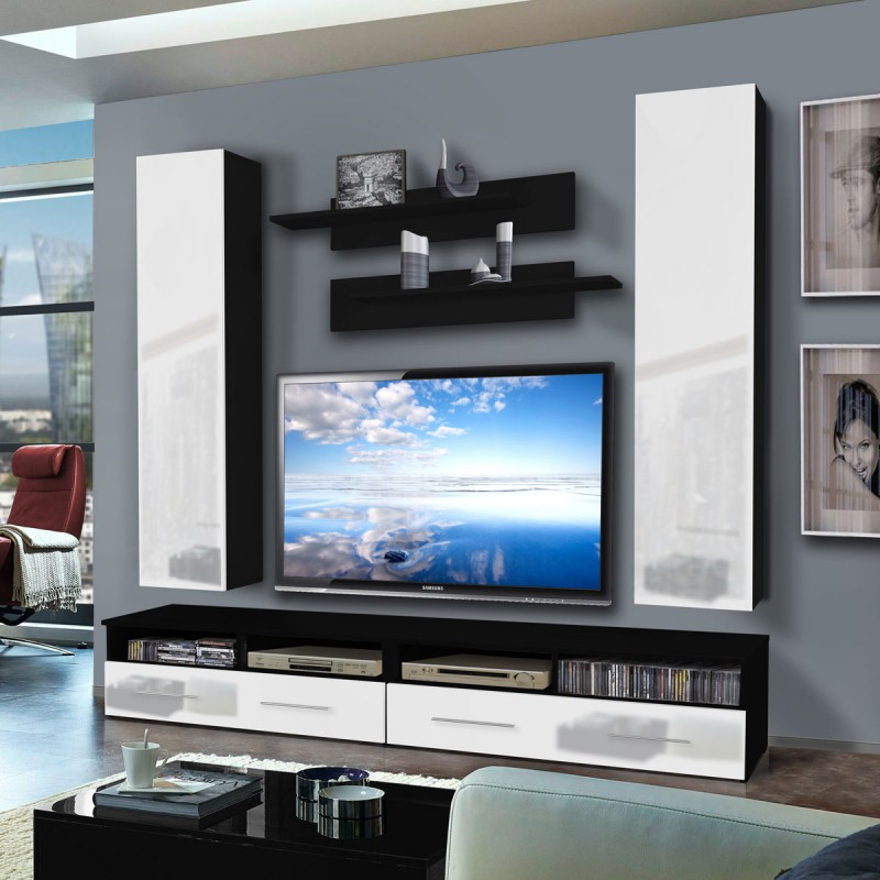 meuble tv mural clevo iv twin 240cm blanc noir. Black Bedroom Furniture Sets. Home Design Ideas