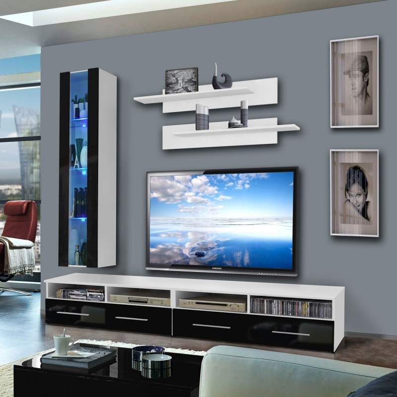 meuble tv mural clevo v 240cm noir blanc. Black Bedroom Furniture Sets. Home Design Ideas