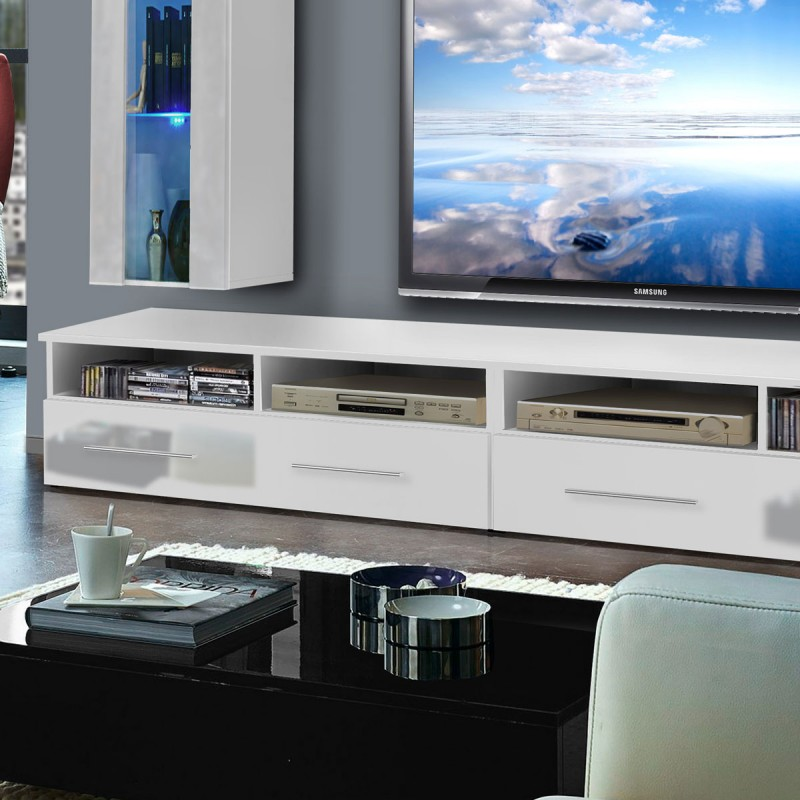 meuble tv mural clevo v 240cm blanc. Black Bedroom Furniture Sets. Home Design Ideas