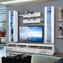"Meuble TV Mural ""Clevo V Twin"" 240cm Blanc"