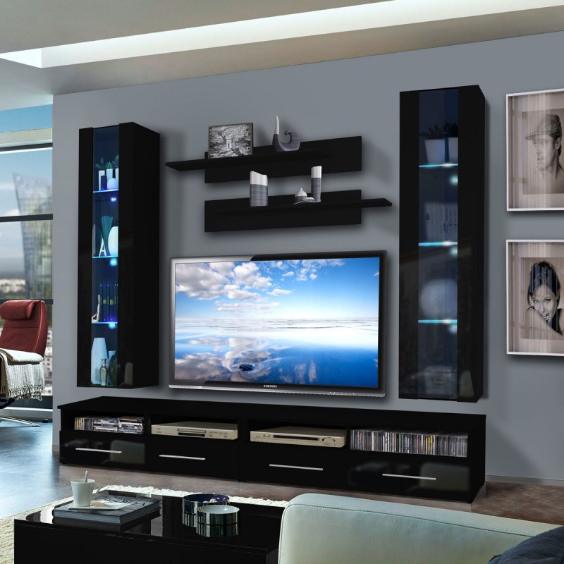meuble tv mural clevo v twin 240cm noir. Black Bedroom Furniture Sets. Home Design Ideas