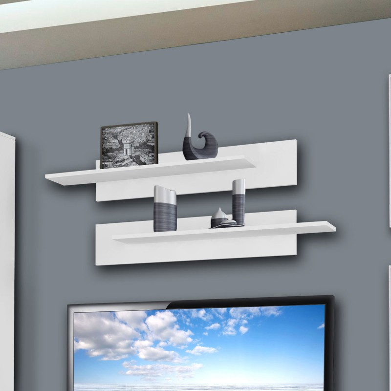 meuble tv mural clevo vi 240cm blanc. Black Bedroom Furniture Sets. Home Design Ideas