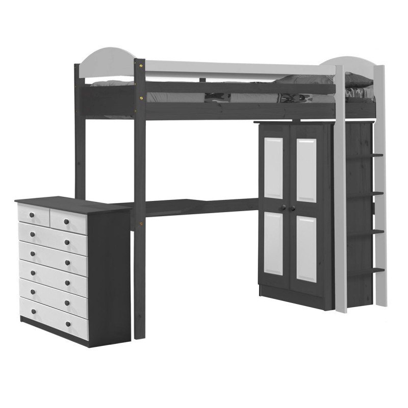 pack 2 lit mezzanine haut maximus 90x190cm graphite blanc. Black Bedroom Furniture Sets. Home Design Ideas