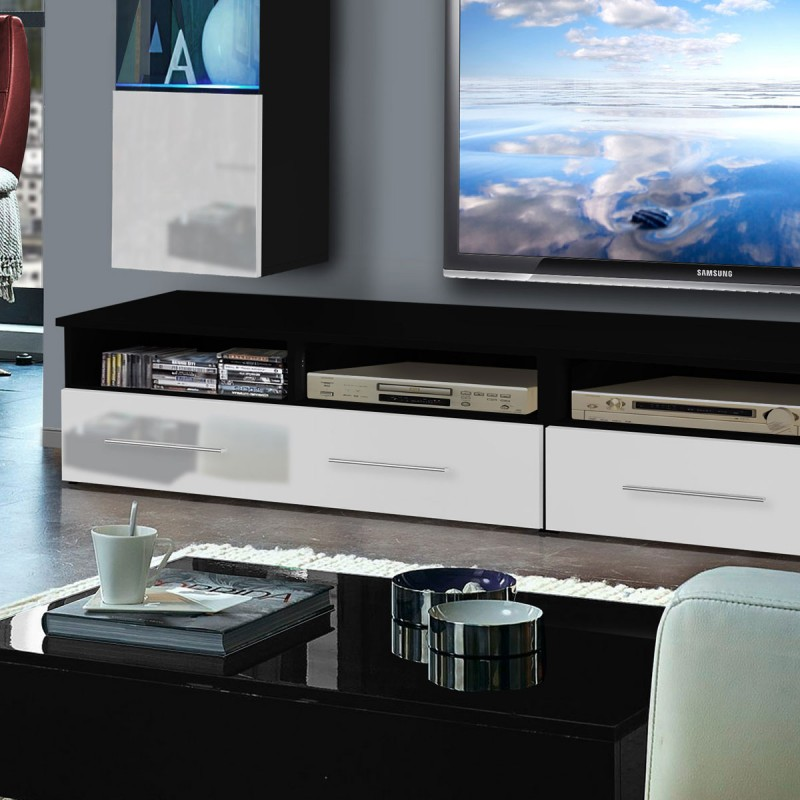 meuble tv mural clevo vi 240cm blanc noir. Black Bedroom Furniture Sets. Home Design Ideas