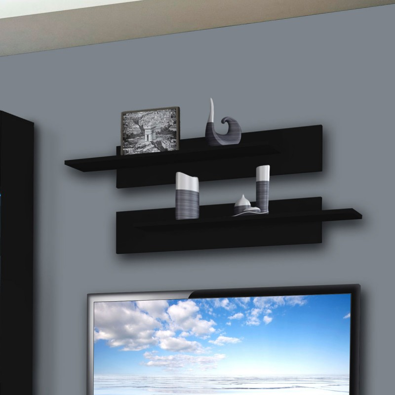meuble tv mural clevo vi 240cm noir. Black Bedroom Furniture Sets. Home Design Ideas