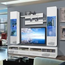 "Meuble TV Mural ""Clevo VI Twin"" 240cm Blanc"