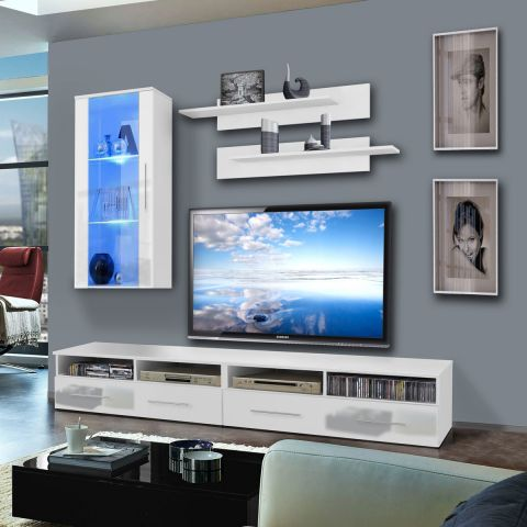 meuble tv mural clevo vii 240cm blanc. Black Bedroom Furniture Sets. Home Design Ideas