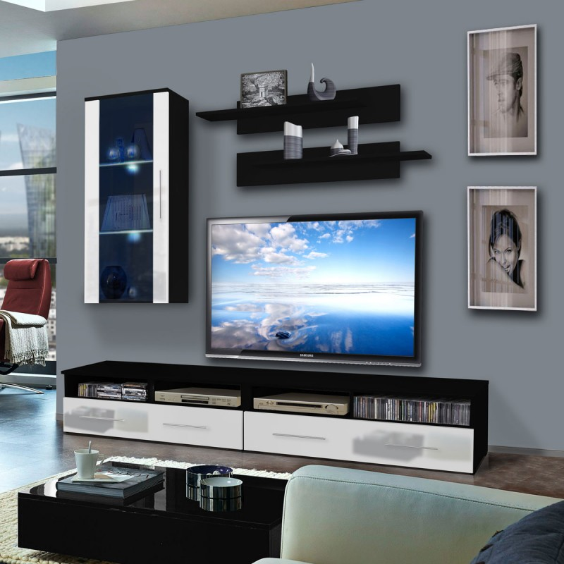 meuble tv mural clevo vii 240cm blanc noir. Black Bedroom Furniture Sets. Home Design Ideas