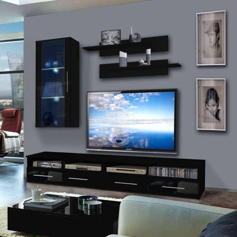 meuble tv mural clevo vii 240cm noir. Black Bedroom Furniture Sets. Home Design Ideas