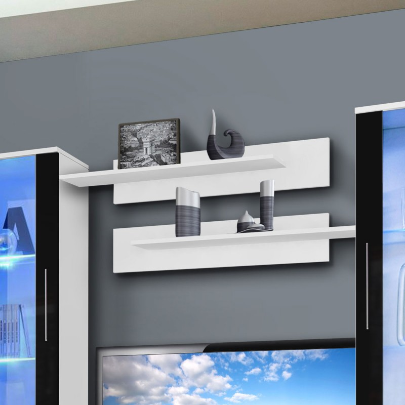meuble tv mural clevo vii twin 240cm noir blanc. Black Bedroom Furniture Sets. Home Design Ideas