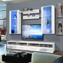 "Meuble TV Mural ""Clevo VII Twin"" 240cm Blanc"
