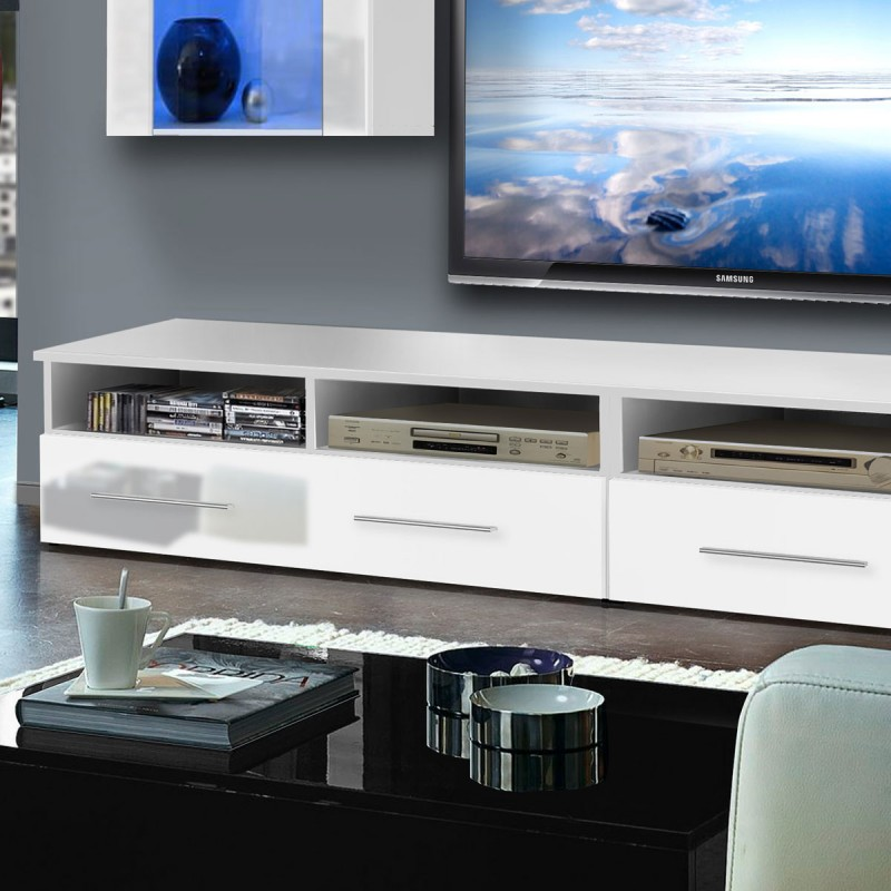 meuble tv mural clevo vii twin 240cm blanc. Black Bedroom Furniture Sets. Home Design Ideas