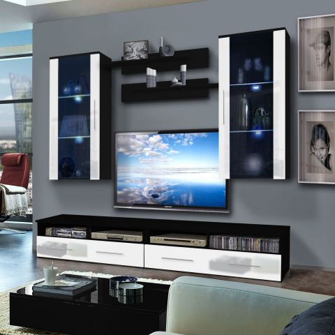 meuble tv mural clevo vii twin 240cm blanc noir. Black Bedroom Furniture Sets. Home Design Ideas