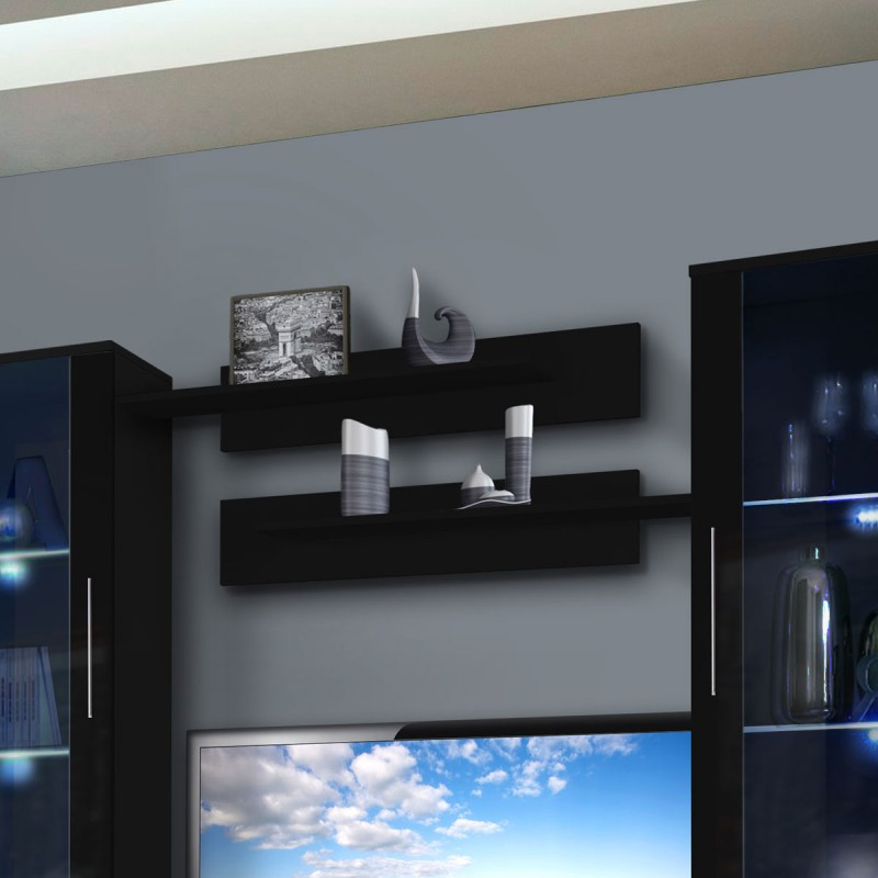 meuble tv mural clevo vii twin 240cm noir. Black Bedroom Furniture Sets. Home Design Ideas