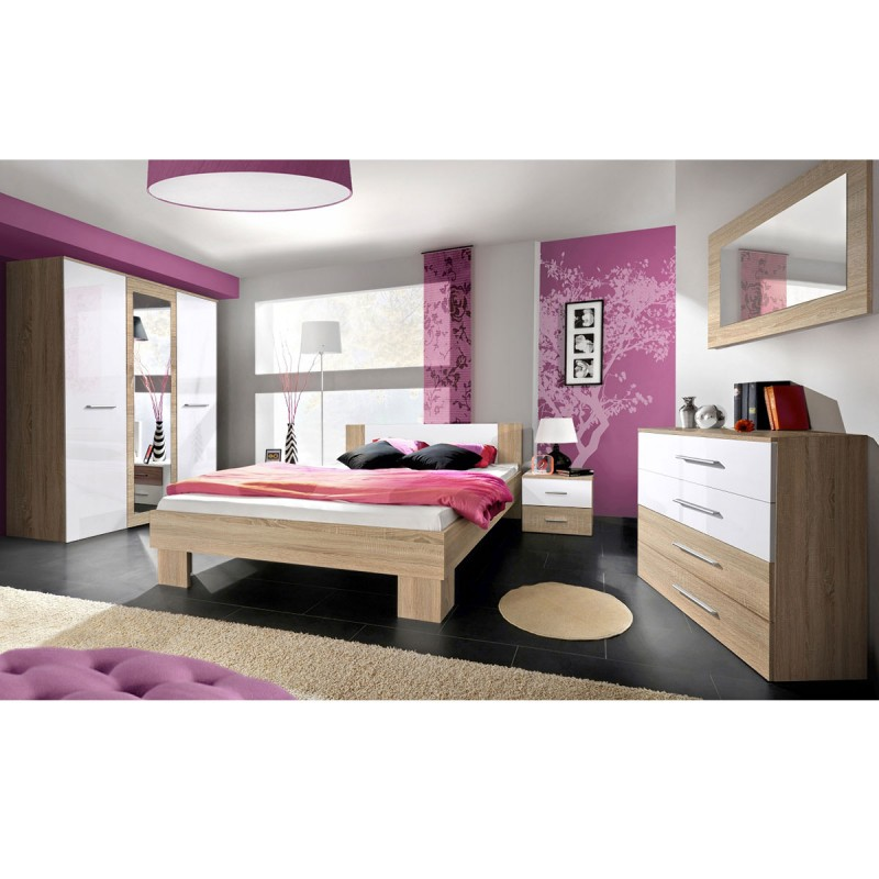 Chambre compl te adulte 6p vicky 160x200cm ch ne blanc for Chambre pour adulte complete