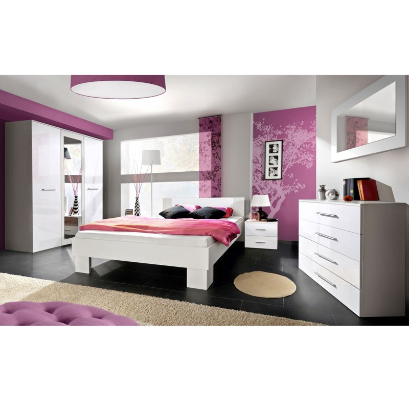 Chambre compl te adulte 6p vicky 160x200cm blanc for Chambre adulte complete blanc