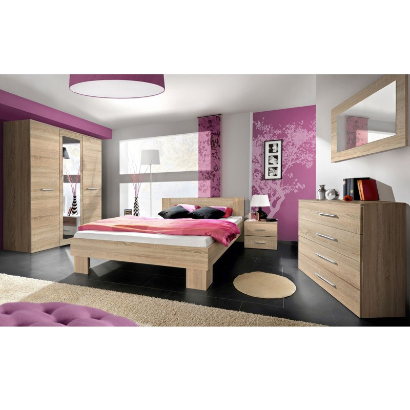chambre compl te adulte 6p vicky 160x200cm ch ne. Black Bedroom Furniture Sets. Home Design Ideas