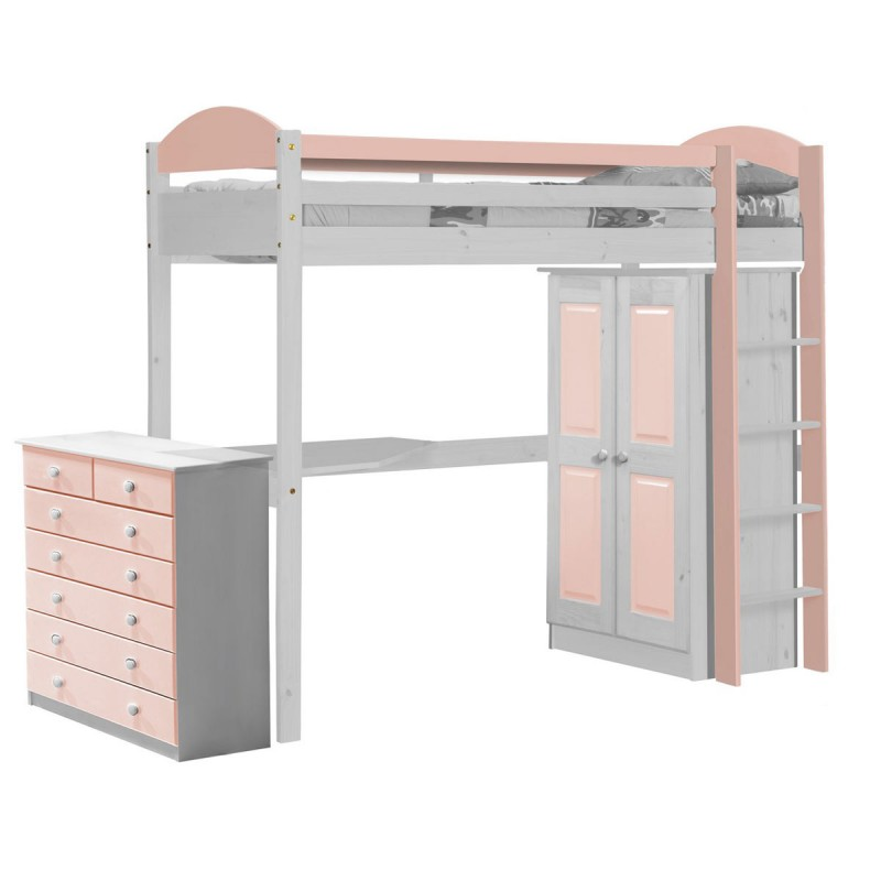 pack 2 lit mezzanine haut maximus 90x190cm blanc rose. Black Bedroom Furniture Sets. Home Design Ideas