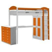 "Pack 2 - Lit Mezzanine Haut ""Maximus"" 90x190cm Blanc & Orange"