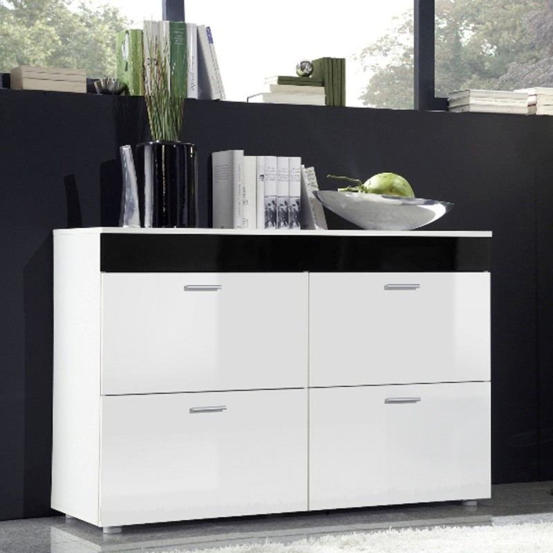 buffet 4 portes design logo 100cm blanc noir. Black Bedroom Furniture Sets. Home Design Ideas