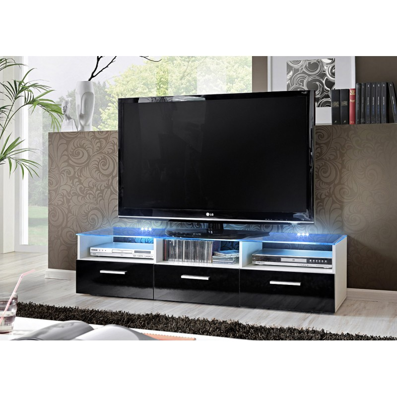 Meuble Tv Design Fresh 150cm Noir Blanc
