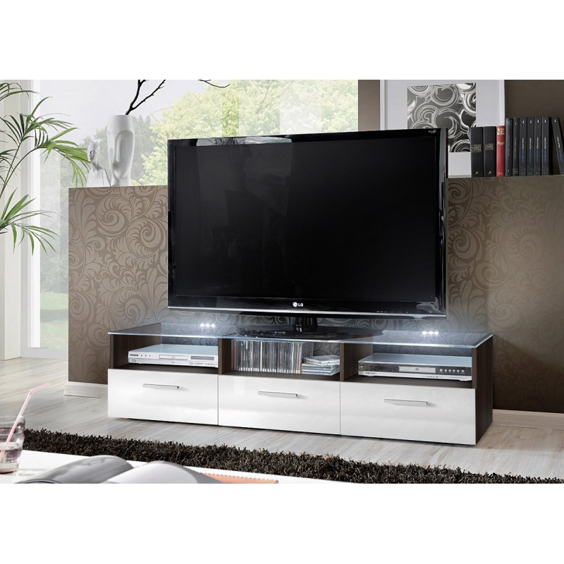 meuble tv design fresh 150cm blanc noir. Black Bedroom Furniture Sets. Home Design Ideas