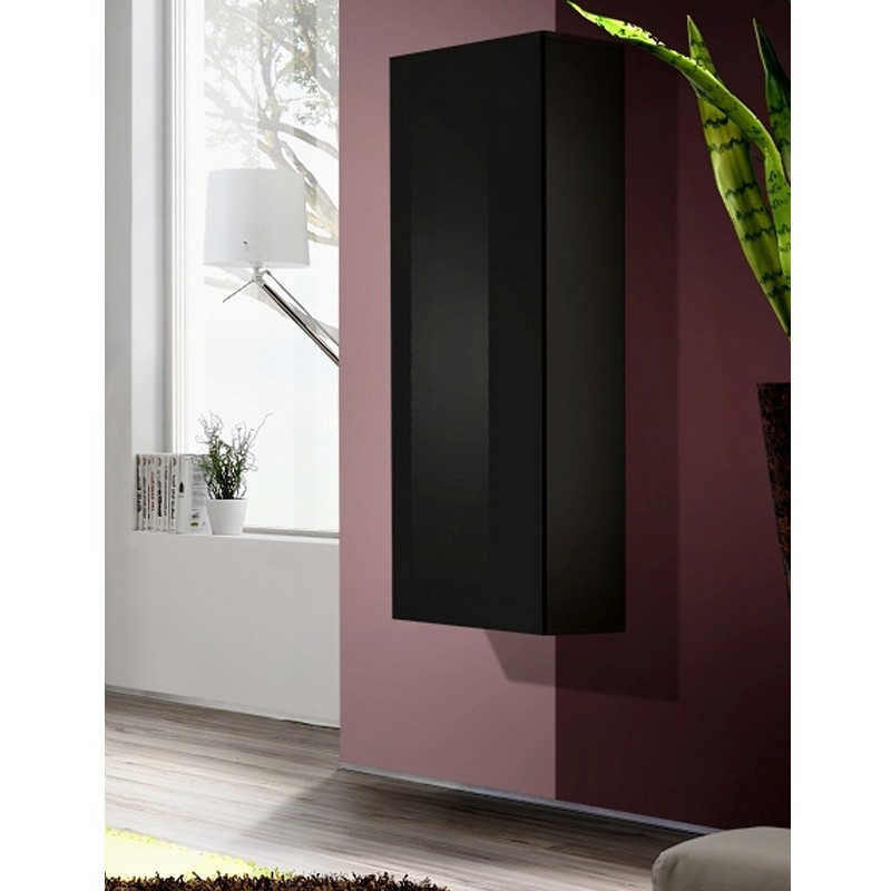 vitrine murale design fly i 126cm noir. Black Bedroom Furniture Sets. Home Design Ideas