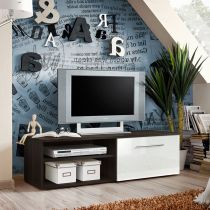 "Meuble TV Design ""Bono I"" 120cm Blanc & Wengé"
