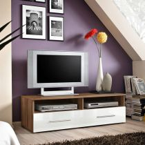 "Meuble TV Design ""Bern"" 120cm Prunier & Blanc"