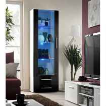 "Vitrine LED Design ""Neo"" 190cm Blanc & Noir Brillant"