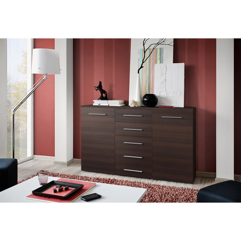 buffet 2 portes design fox 150cm weng. Black Bedroom Furniture Sets. Home Design Ideas
