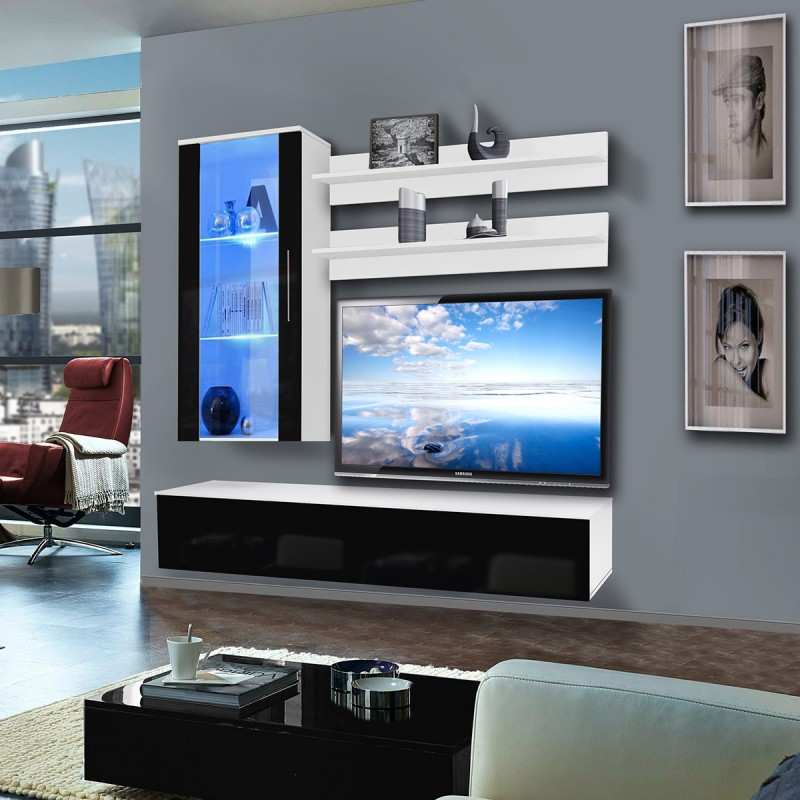 meuble tv mural stick 200cm noir blanc. Black Bedroom Furniture Sets. Home Design Ideas
