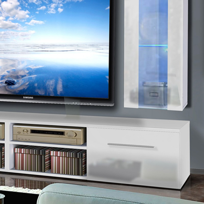 meuble tv mural invento v twin 240cm blanc. Black Bedroom Furniture Sets. Home Design Ideas